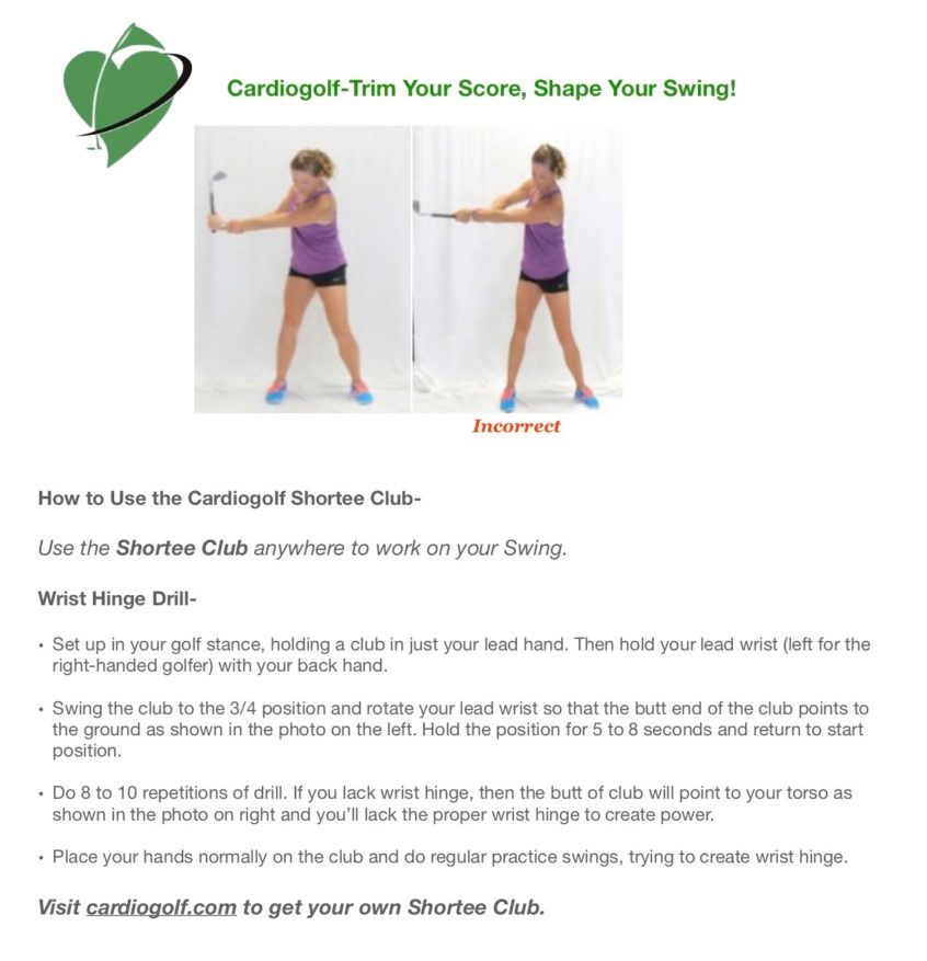 50 Cardiogolf Drills and Exercises with the Shortee Club-Wrist Hinge