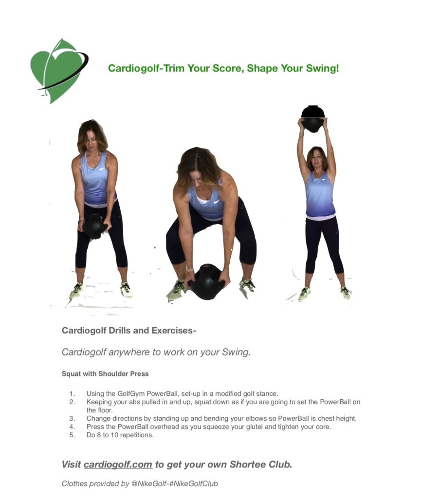 50 Cardiogolf Drills And Exercises Squat With Shoulder Press Using Golfgym Powerball Cardiogolf
